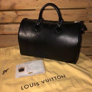 black Louis Vuitton Epi Leather Speedy 35